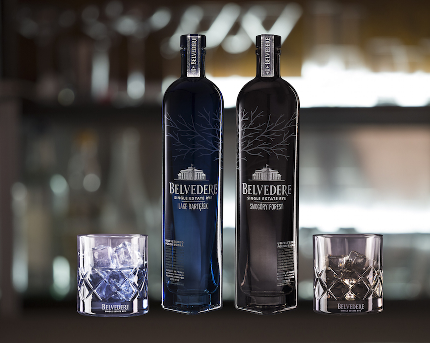 Belvedere Vodka The Single Estate Rye Vodkas with tumblers