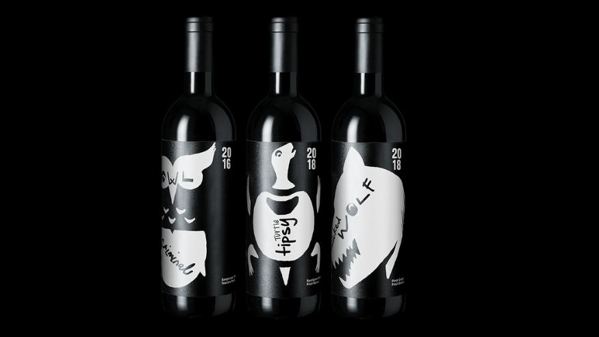 animal.wine tasting set criminal owl tipsy turtle wicked wolf