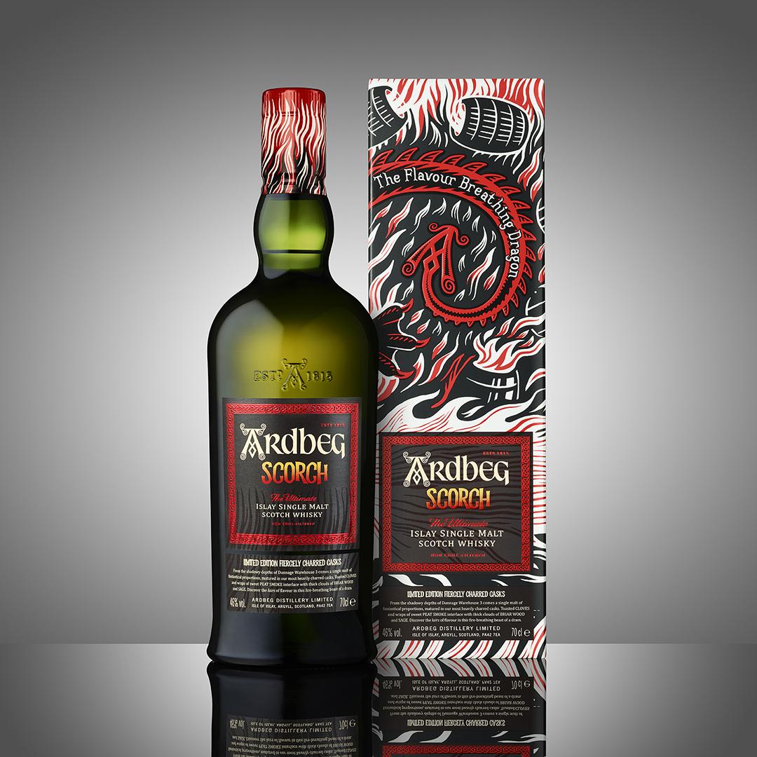 Ardbeg Scorch Black Ardbeg Day Scorch Bottle and Box