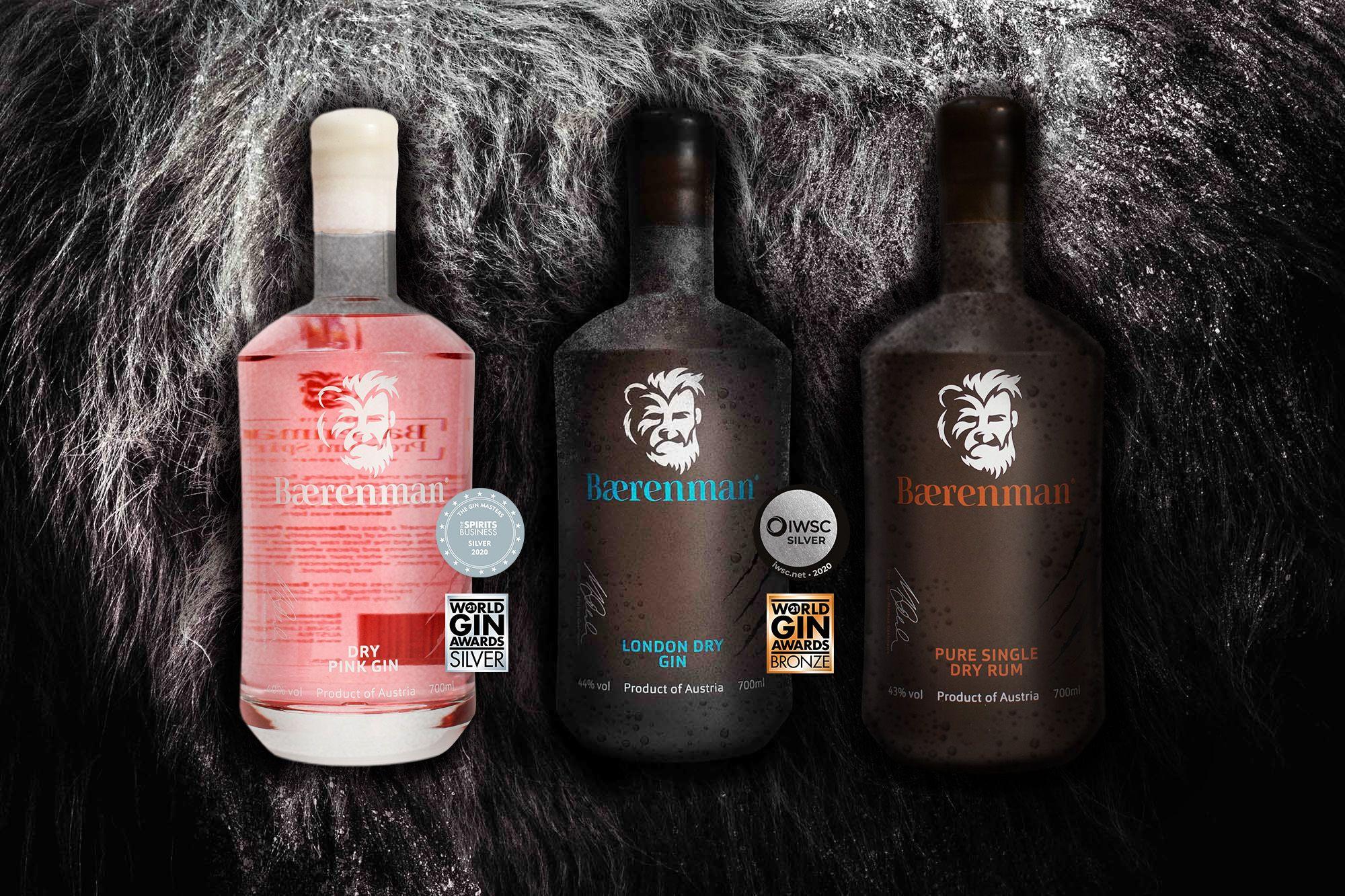 Baerenman Premium Spirits London Dry Gin Pink Gin Dry Rum